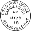 1919 Field Post Office Beamsville, Ontario, postmark
