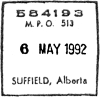 1992 Suffield, Alberta, MPO 513 POCON postmark