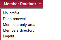 Member Routines drop-down menu