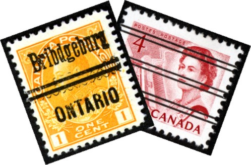 Pair of precancelled stamps